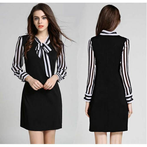 Long Sleeved Stripy Collar Dress