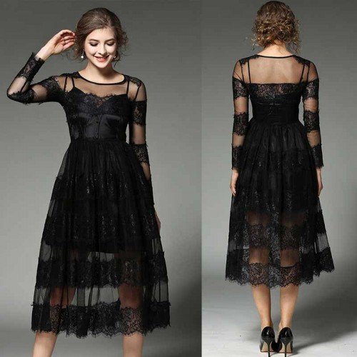 Long Sleeves Midi Lace Dress