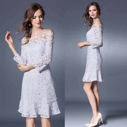 Floral Off Shoulder Lace Dress