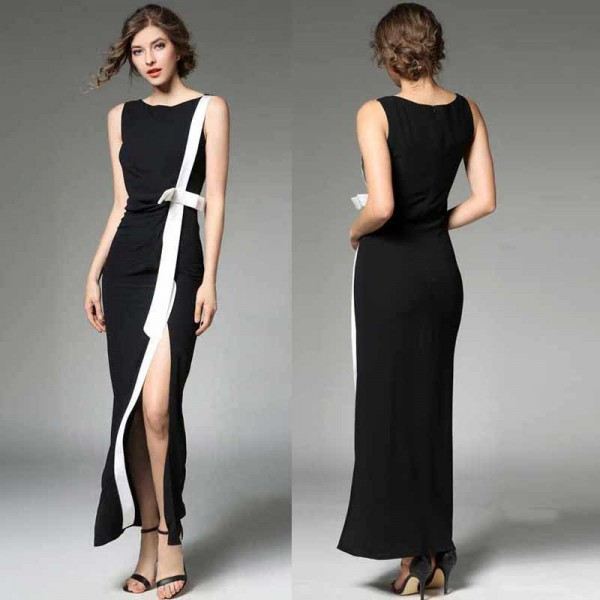 Slim Cut Long Slit Dress