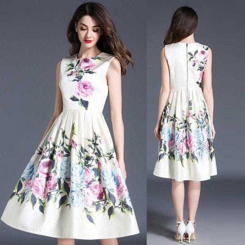 Square Neck Umbrella Floral Dress