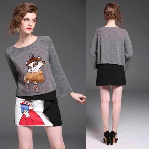 Fox Embroidered Long Sleeves Sweater