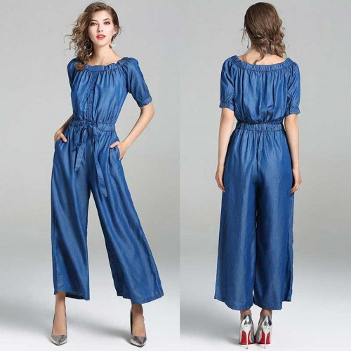 Off Shoulder Denim Jumpsuit (Size M)