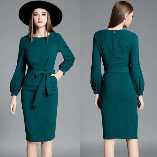 Long Sleeved OL Pencil Dress