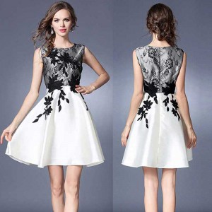 Black White Flower Dress