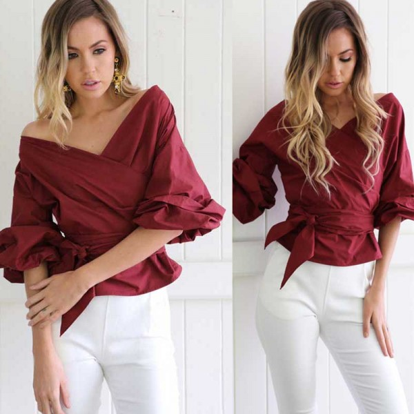 Off Shoulder Tie Waist Top