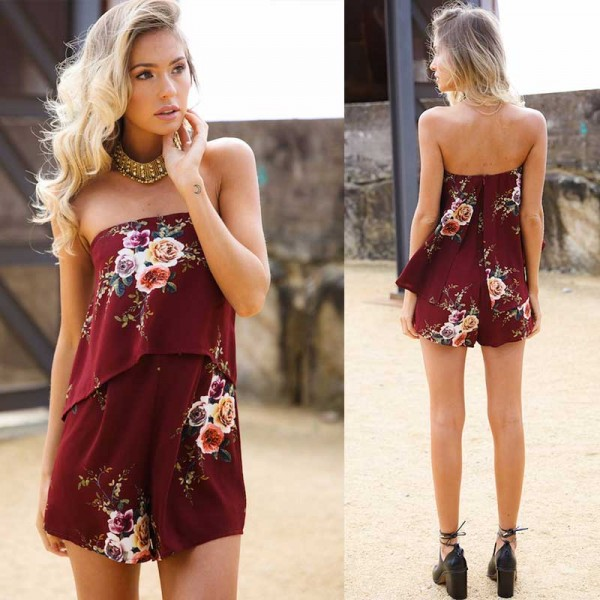 Floral Tube Romper (Size S,M)