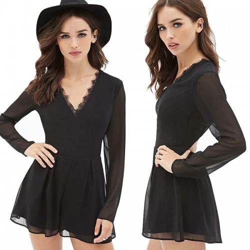 Black Lace Touch Romper