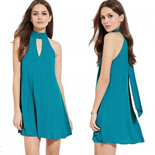 Blue Halter Dress (Size XL,XXL)