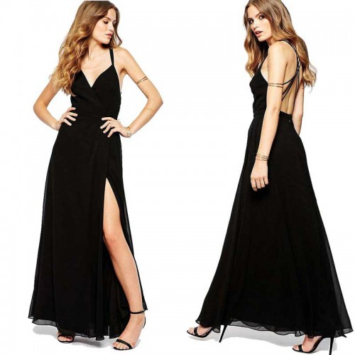 Cross Back Long Slit Dress (Free Stick On Bra)