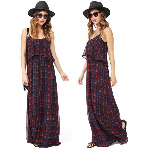 Checked Spaghetti Long Dress (Size XS,S)