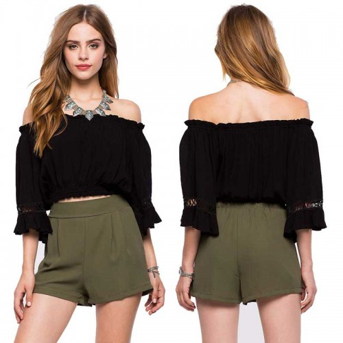 Black Off Shoulder Bohemia Top (Size XS.S,M)