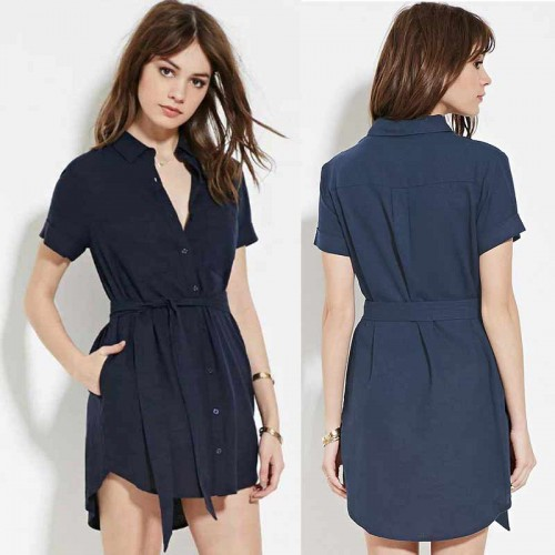 Blue Collar Button Dress