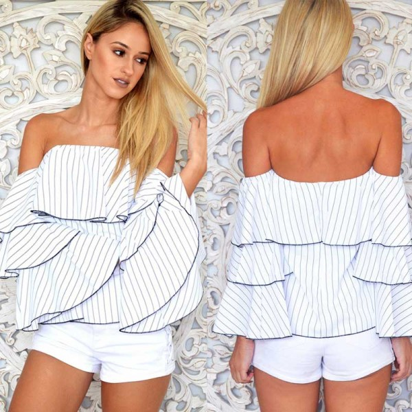 Ruffle Sleeves Off Shoulder Top