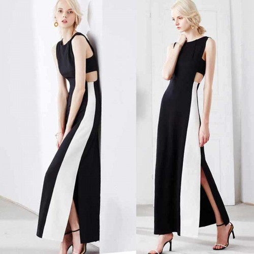Crop Waist Black White Slit Dress