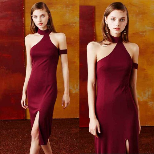 Choker Slit Dress