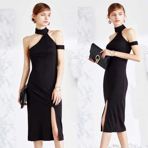 Black Choker Slit Dress (Size M)