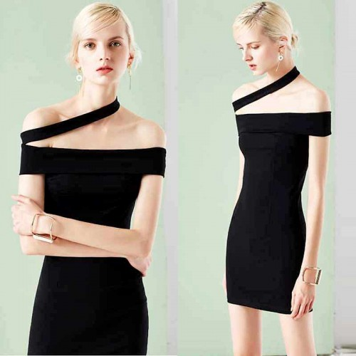 Cross Shoulder Black Short Dress