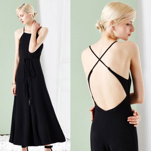 Black Cross-Back Palazzo Jumpsuit