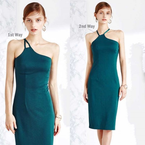 Two Ways Halter Neck Pencil Dress