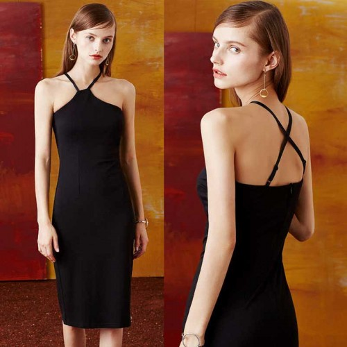 Black Two Ways Halter Neck Pencil Dress