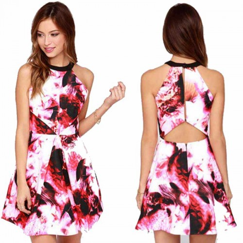 Halter Neck Short Floral Dress (FREE SILICONE BRA)