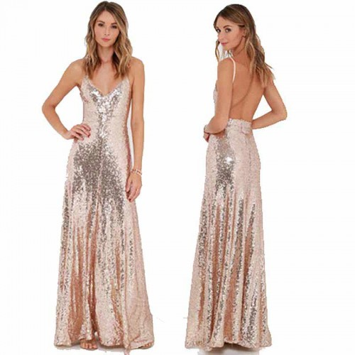 Pink Backless Long Shimmering Dress (Size XS,S)