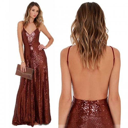 Red Backless Long Shimmering Dress
