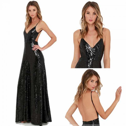 Black Backless Long Shimmering Dress