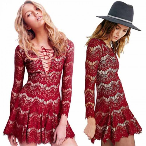 Red Long Sleeves Lace Dress