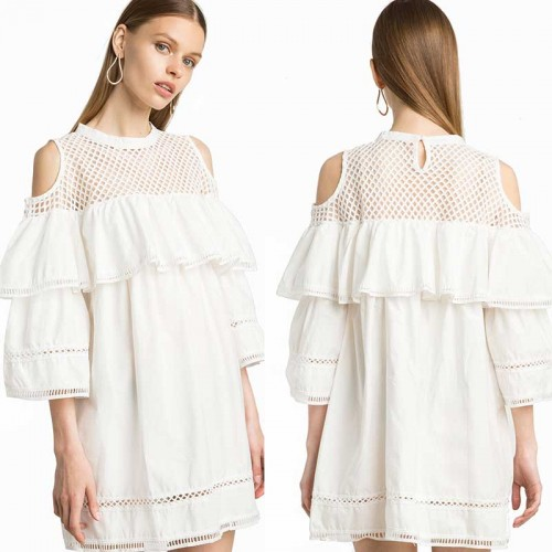 Crop Shoulder Ruffles Sleeves Dress