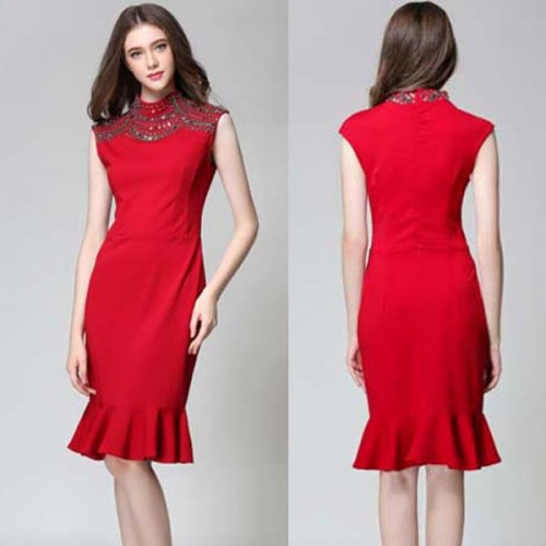 Red High Neck Beaded Midi Dress