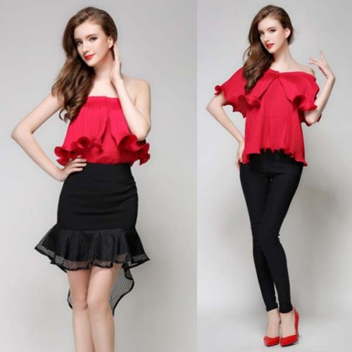 Red Ruffles Pleated Top