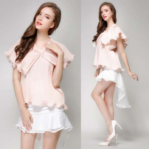 Pink Ruffles Pleated Top