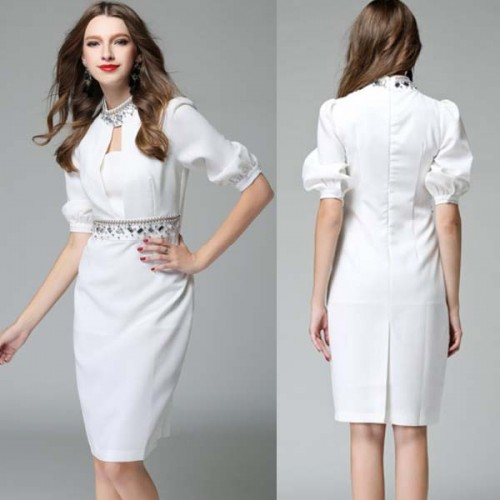 White Bubble Sleeves Beaded Midi Dress