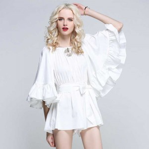 White Off Shoulder Ruffles Romper