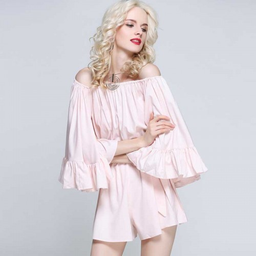 Pink Off Shoulder Ruffles Romper