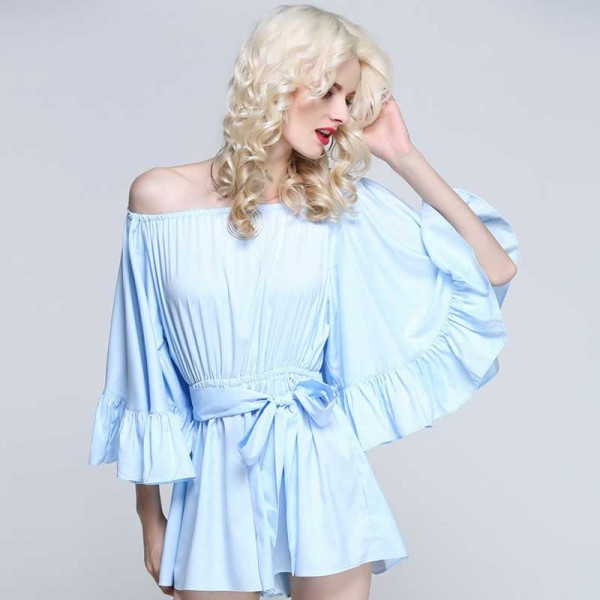 Off Shoulder Ruffles Romper