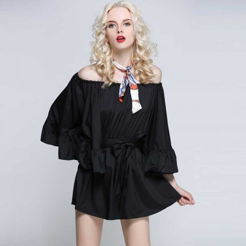 Black Off Shoulder Ruffles Romper