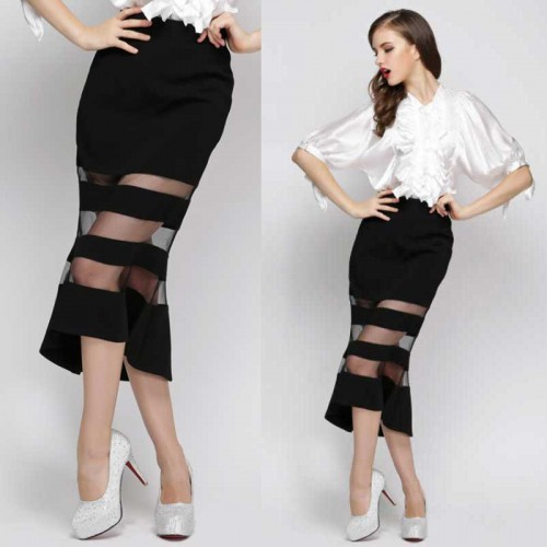 Sheer Straps Fish Tail Midi Skirt