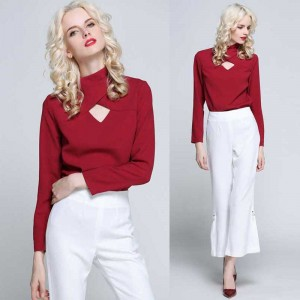Red Cross Neck Long Sleeves Blouse