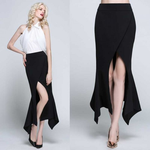 Irregular Midi Slit Skirt