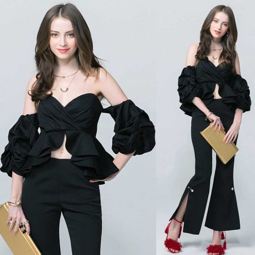 Black Off Shoulder Bubble Sleeves Top