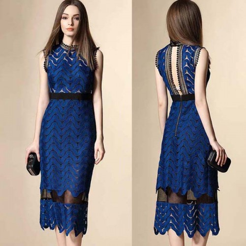 Back Cut Out Midi Lace Dress