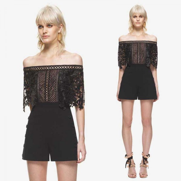 Off Shoulder Lace Romper (FREE Stick On Bra)