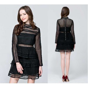 Long Sleeves Black Layer Lace Dress