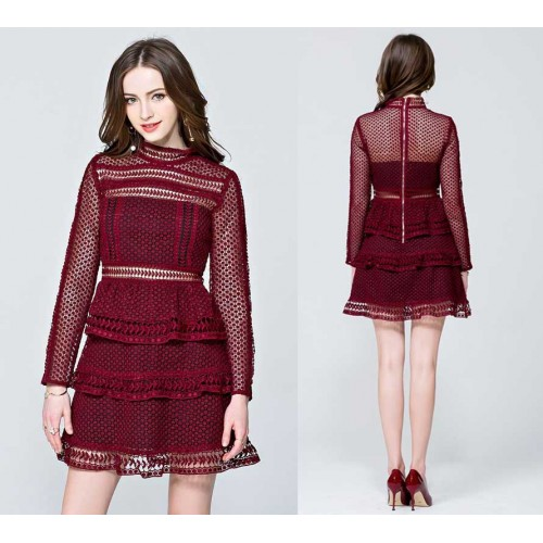 Long Sleeves Layer Lace Dress