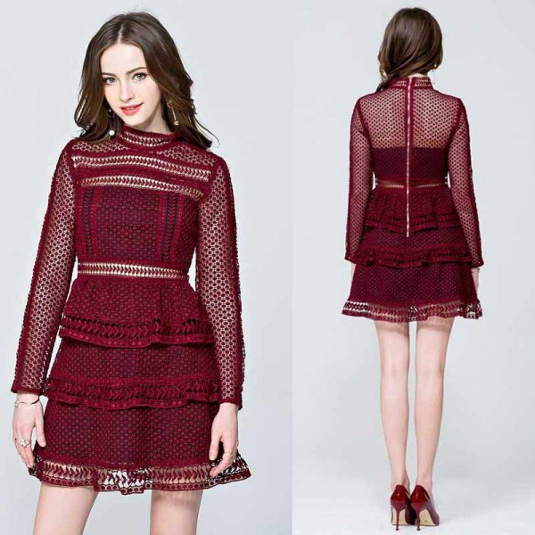 Red Long Sleeves Layer Lace Dress (Size S)