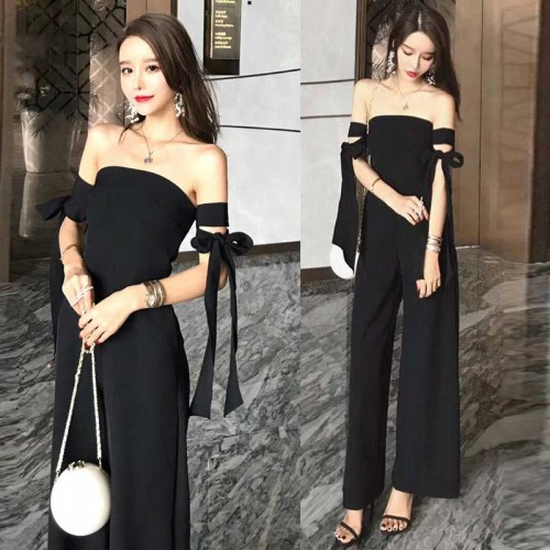 Tied Arm Tube Jumpsuit (Black)
