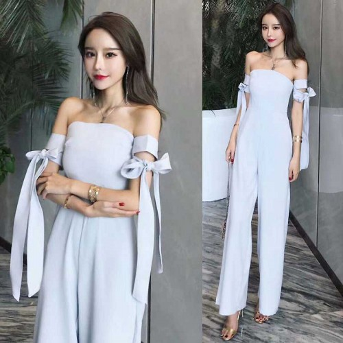 Tied Arm Tube Jumpsuit (Grey)